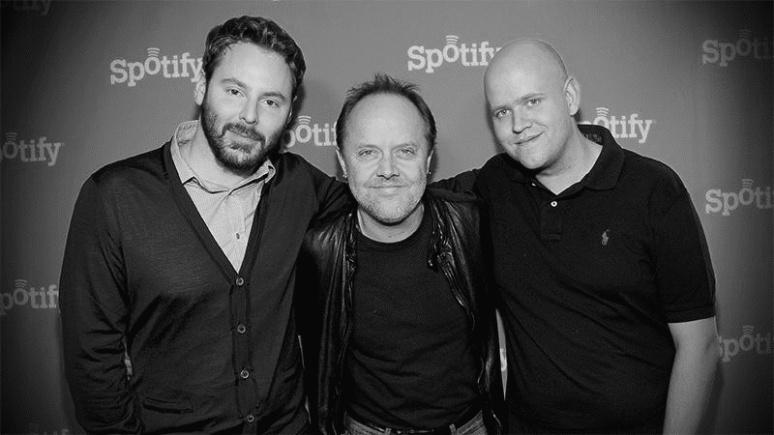 Sean Parker com Lars Ulrich e o fundador do Spotify, Daniel Ek